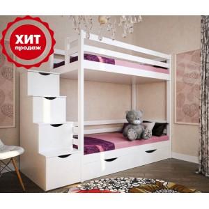 Кровать двухъярусная АЛЬБА-2 с лестницей-комодом